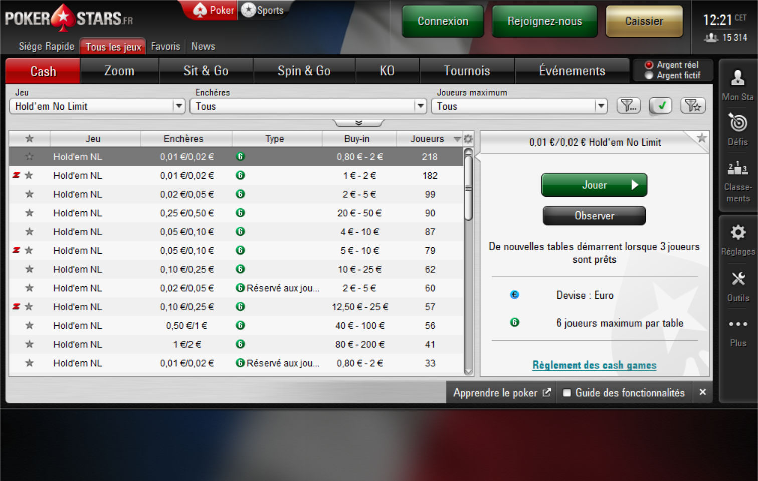 pokerstars cash game